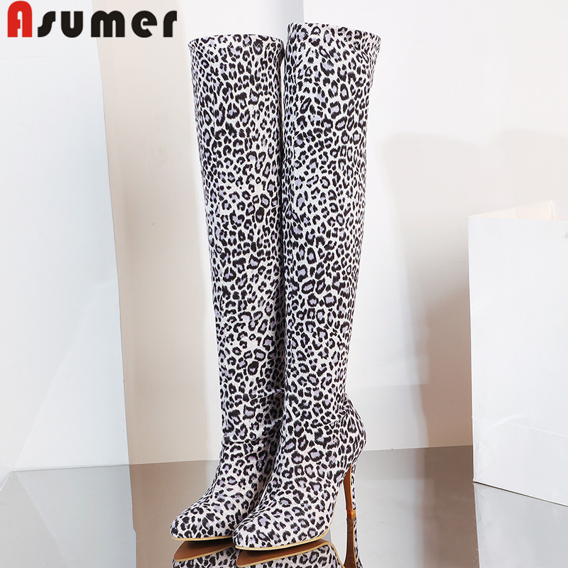 ASUMER Over-The-Knee Boots Leopard Women Thigh Pointed-Toe Fashion Ladies Slip-On Slim