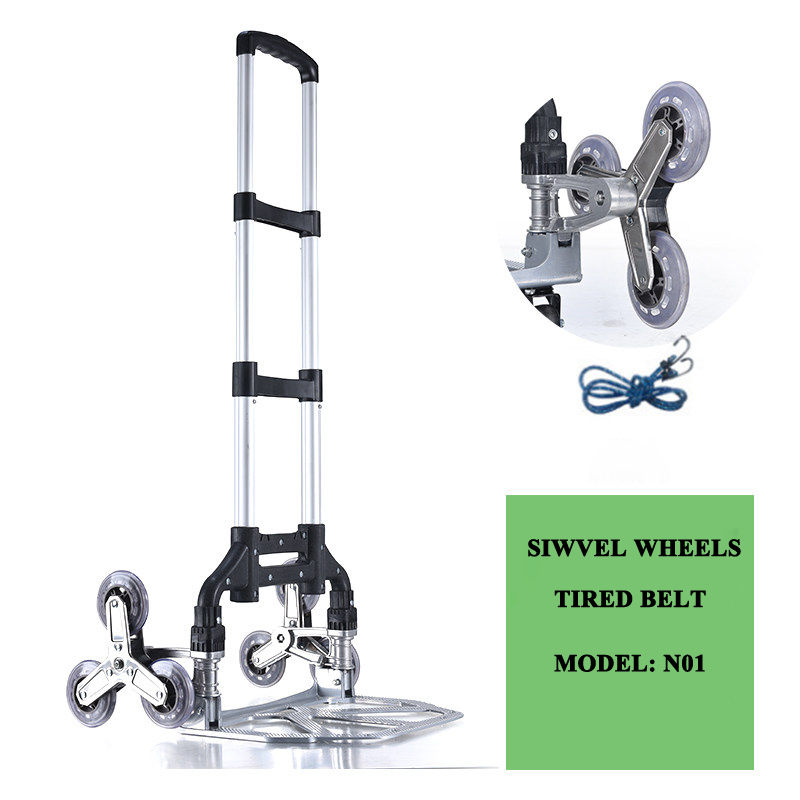 E-FOUR Cart Personal Heavy Capacity Aluminum Folding Hand Truck With Folding Stair Cliping Wivels Wheels In Car Travel Dolly