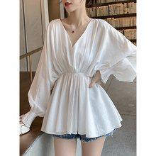 Solid Blouse Women 2019 Srping Autumn Batwing Long Sleeve Shirt Top Black White Korean Japan Chic Ladies