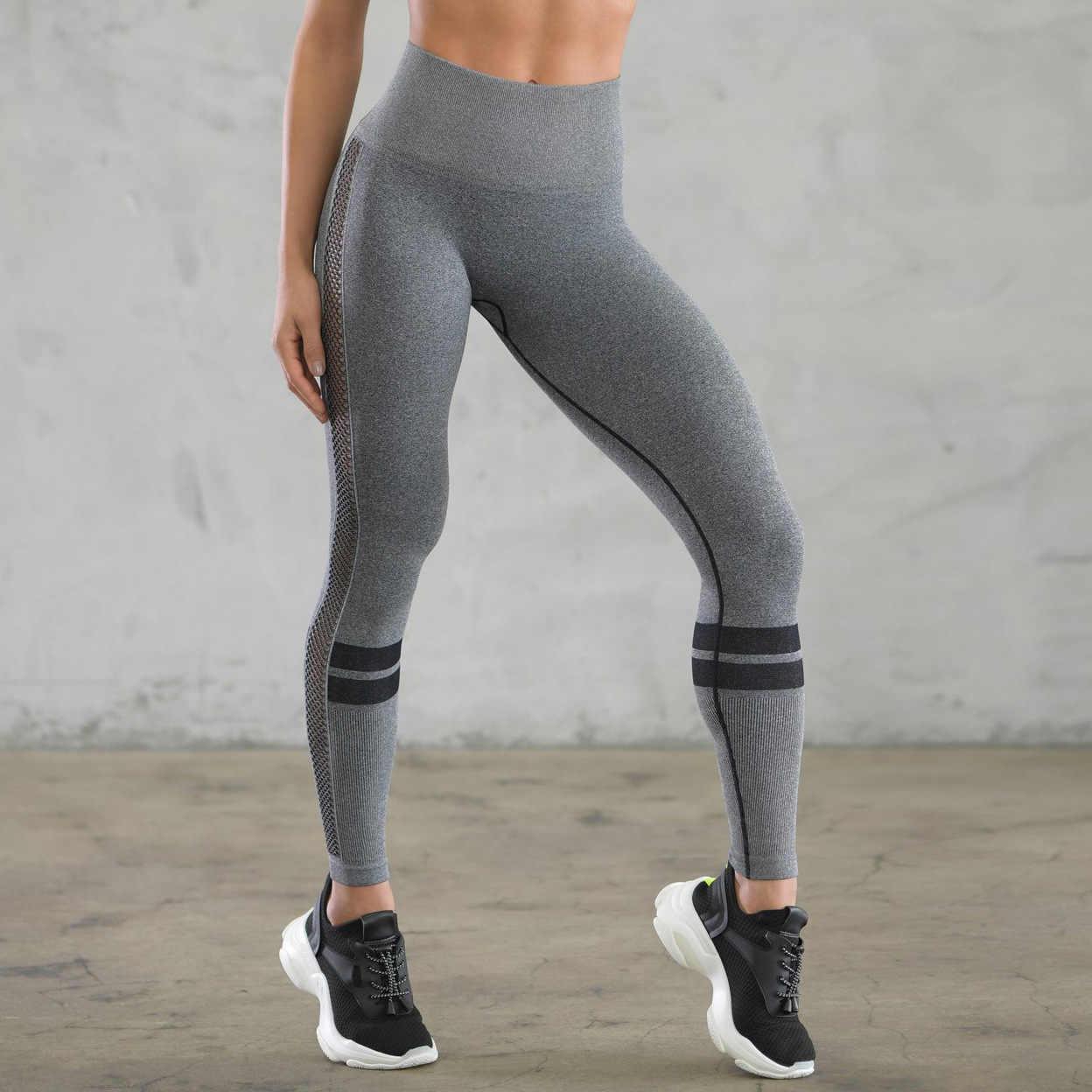 Egzersiz Lycra Push Up Tayt Kadınlar Gri Örgü Patchwork Legging Pantolon Moda Kadın Çizgili Baskılı Yüksek Bel Streç Leggin