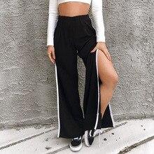 2019 fashion Autumn Women casual pants High waist Trousers Loose Black split wide leg Streetwear dropshipping