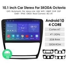 รถ Android 10วิทยุ2din สเตอริโอ Multimidia GPS NAVi สำหรับ SKODA Octavia 2 2008 2009 2010 2011 2012 2013 Autoradio บลูทูธ TPMS