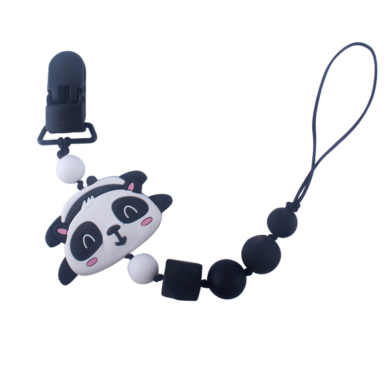 XCQGH Baby Boy Girl Pacifier Holder For Infant Grey Black Teething Leash Chain Cute Bear Teether Strap