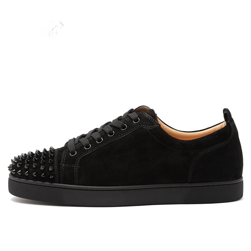 Fashion Black Suede Leather Shoes Men Toe Rives Stud Men Leather Casual Shoes Lace Up Spike Sneakers Shoes Men Large Size EU 47