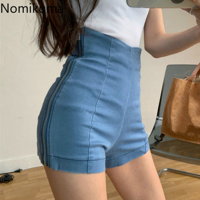 Nomikuma Side Zipper High Waist Shorts Women Solid Color Denim Short Pants Female Korean Fashion New Bottoms Streetwear 3b140 1