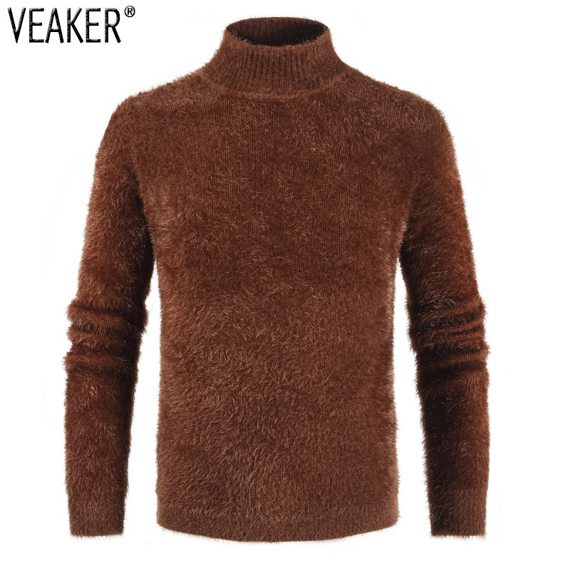 2019 New Men's Autumn Winter Soft Fur Turtleneck Sweaters Male Long Sleeve Solid Color Slim Fit Warm Knitted Sweater Tops M-3XL