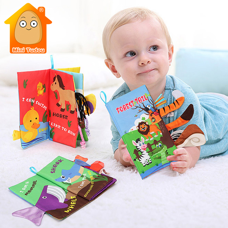 Infant 3 Style Baby Cloth Books Early Learning Educational Toys With Animals Tails Soft Cloth Development Books Rattles