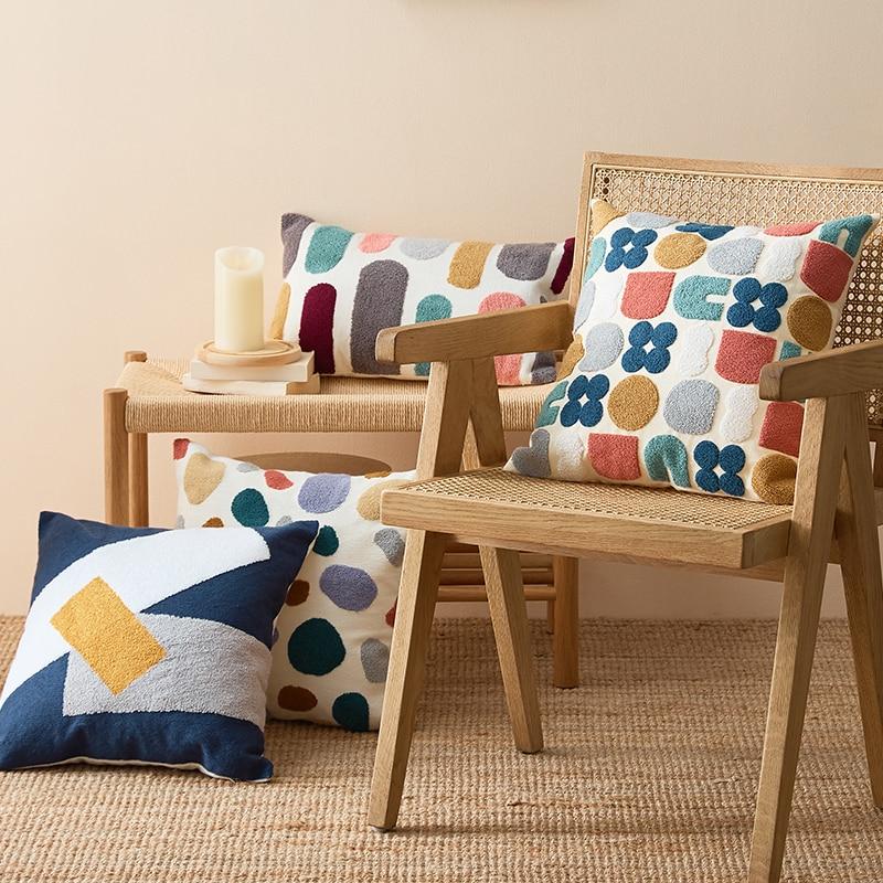 Цветочная Подушка чехол с милой вышивкой в горошек, наволочка для подушки 45x45 см/30x50 см, мягкое уютное украшение для дома для гостиной, детской комнаты Наволочка      АлиЭкспресс - Красивые подушки