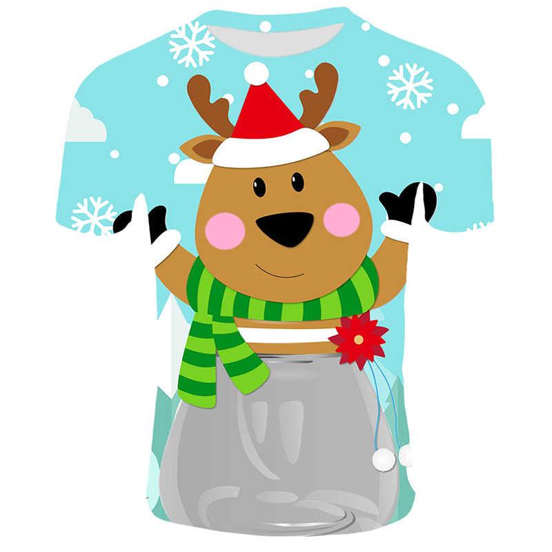 Christmas T-shirt Men Elk Animal Print Tshirts Male Summer O-neck Casual T shirt Breathable Top Tees Christmas Couple Costume