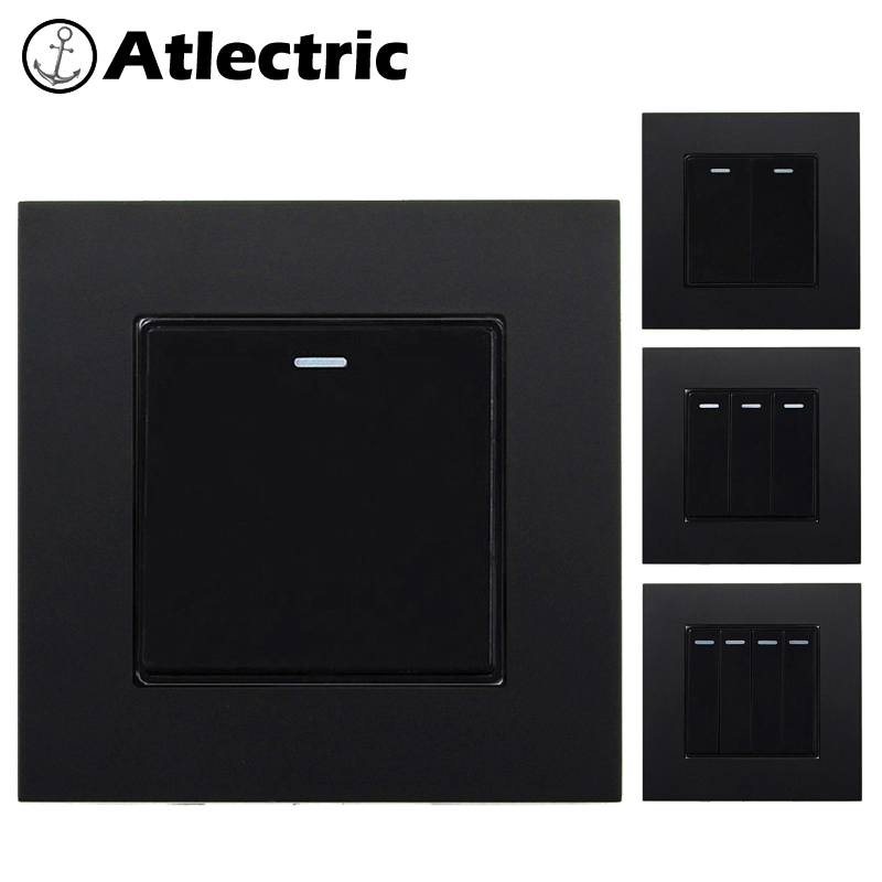 Atlectric Wall Button Switch 1 2 3 4 Gang On/off Pc Plastic Panel Lamp Light Universal