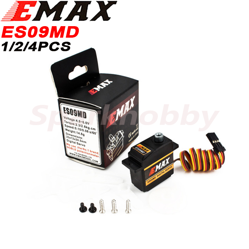 4PCS Original EMAX ES09MD Metal Digital Servo 14.8g Waterproof Servo With Gears For RC Car Helicopter Boat Airplane Accessories