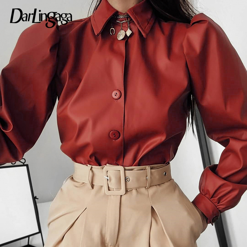 Darlingaga Puff Sleeve Faux PU Leather Blouse Shirt Solid Buttons Crop Top Fashion Women Blouse Elegant Retro Office Ladies Tops