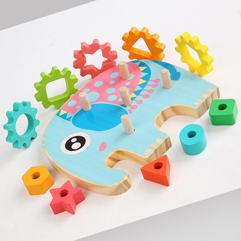 geometric blocks baby toys Educational gear Bricks shape matching montessori Toy Assembling Blocks Color Cognitive Board Toys