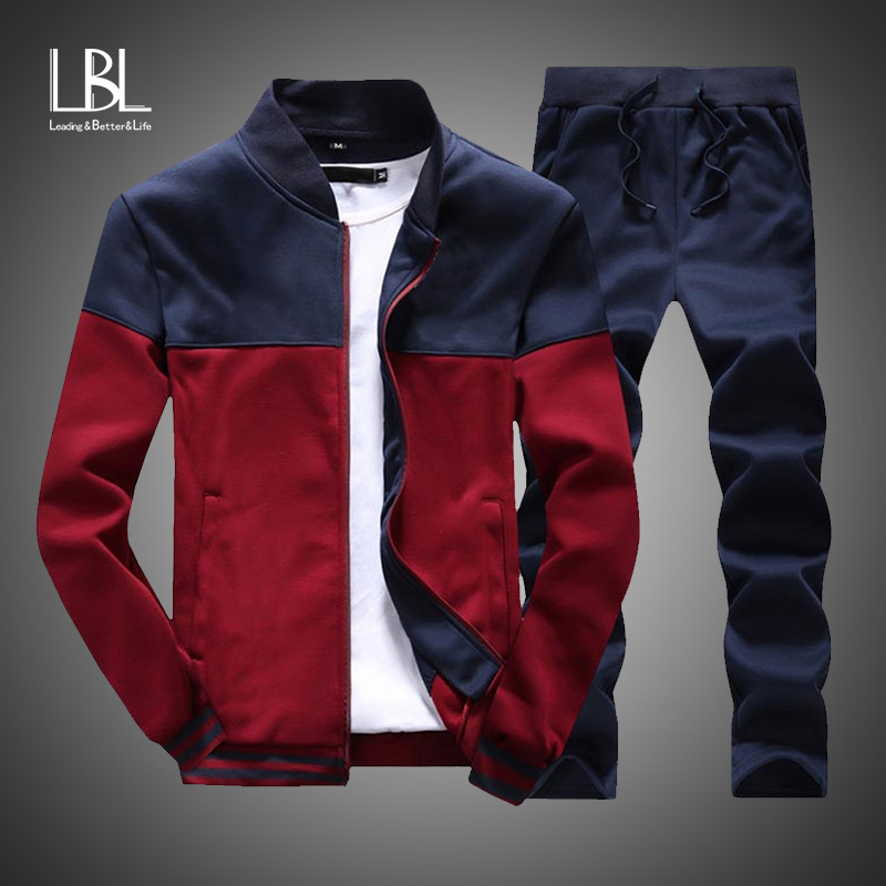 2019 New Men Sets Fashion Sporting Suit Brand Patchwork Zipper Sweatshirt +Sweatpants Mens Clothing 2 Pieces Sets Slim Tracksuit