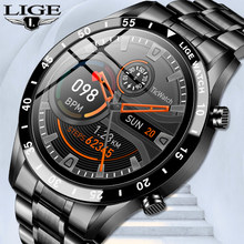 LIGE New Luxury brand mens watches Steel band Fitness Watch Heart rate blood pressure Activity tracker Smart Watch For Men+Box