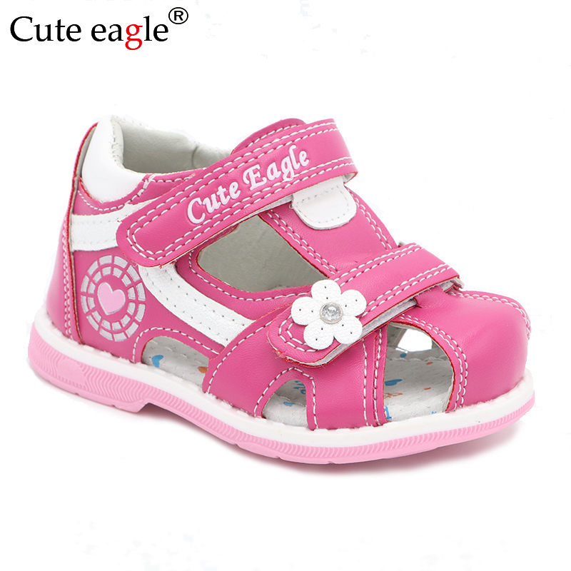 Cute Eagle Summer Girls Orthopedic Sandals Pu Leather Toddler Kids Shoes For Girls Closed Toe Baby Flat Shoes Eur 20-30 New 2020