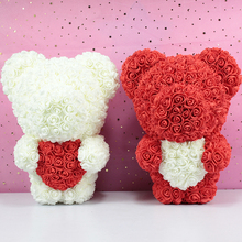 Прямая поставка, новинка, стоящий 40 см медведь из роз, искусственный цветок, плюшевый медведь из роз, сердце для Святого Валентина, Свадебная коробка для рождественских подарков