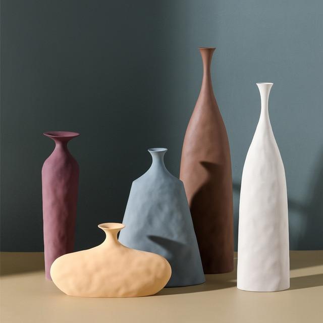 VILEAD 13cm 45cm Morandi Ceramic Plain Embryo Vase Creative Art Texture Home Decoration Hogar Flower Vases Handmade Ornaments 2