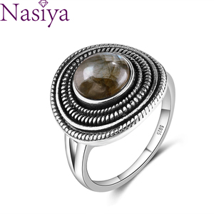 Round 8MM Natural Labradorite Rings Women's Gemstone S925 Sterling Silver Ring Vintage Style Fine Jewelri
