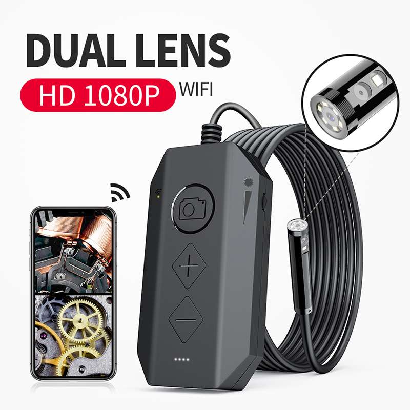 Wireless Dual Endoscope Camera WiFi 8mm 1080P HD Borescope Inspection Camera for iPhone Android 2MP Snake Camera for Inspecting