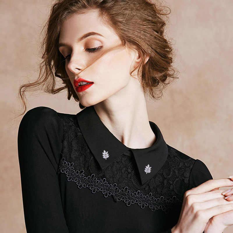 Muda Tulip Fashion Zircon Daun Kerah Bros 2 Warna Mewah Bros untuk Wanita Aksesoris Pernikahan Pria Perhiasan Hadiah Yang Bagus