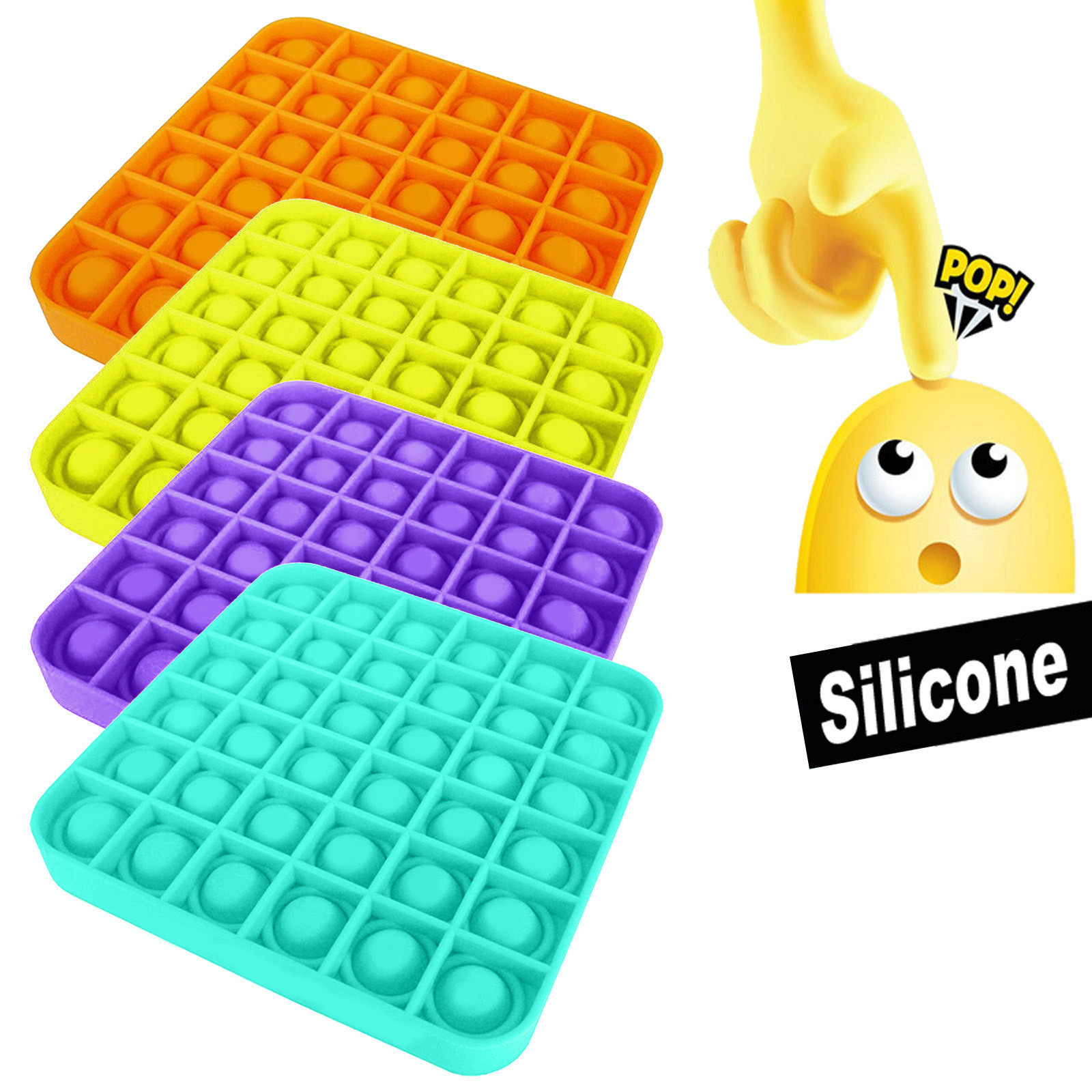 Игрушки-сжималки для взрослых и детей, забавная игрушка-антистресс с пузырьками, силиконовая игрушка для людей с аутизмом и особыми потребн...