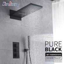 Черный Термостатический смеситель для душа Senlesen, Набор насадок «Водопад», кран для ванны, термостатический смеситель с 3 направлениями