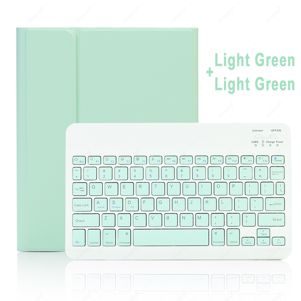 Green with Green Misty Gray For iPad 10 2 2019 2020 Keyboard Case with Pencil Holder for Apple iPad 7th 8th