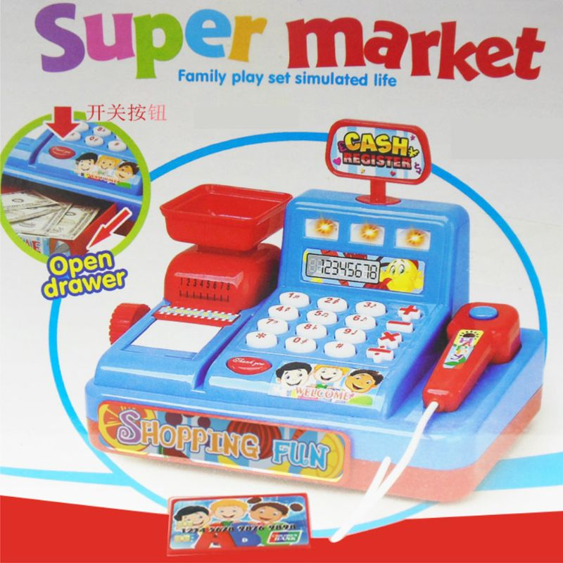 1Set Electric Cash Register Kids Toy Simulated Play Money Vending Machine Play House Pretend Toys Chrismas Gifts Q6PD