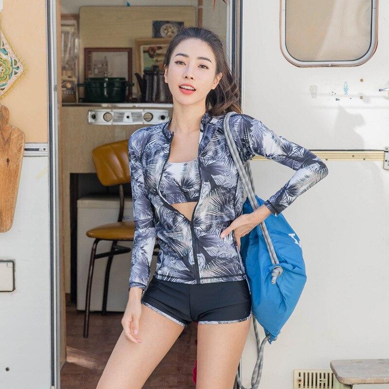 Corée du sud combinaison de plongée femmes fendu Type minceur à manches longues résistant au soleil méduse costume de plongée en apnée Surf Wear hommes Cou