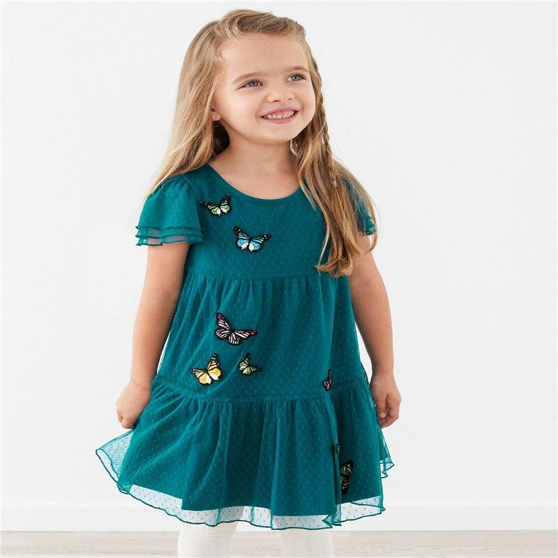 Top Brand Princess Party Baby Girls Dress Summer Butterflies Children Clothing Mesh Kids Birthday Dress New Arrival For  Girls