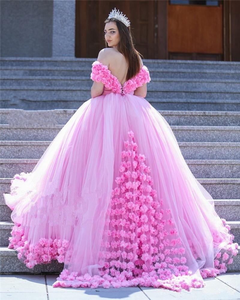 pink dress wedding