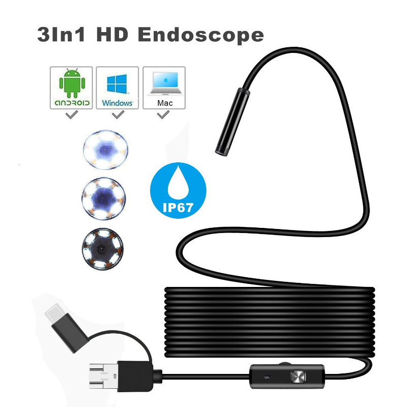 3 In 1 HD Android Mobile Phone Endoscope 5M 10M Waterproof IP67 USB Inspection Video Camera