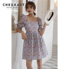 Ladies Summer Floral-Dress Puff-Sleeve Square-Neck Tunic Vintage Mini CHEERART A-Line