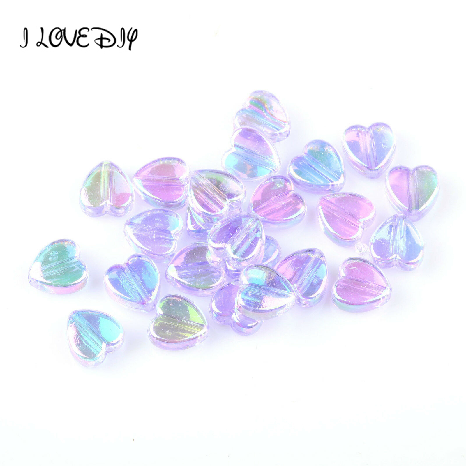200pcs /pack 8x4mm AB Color Heart Spacers Acrylic Beads For Jewelry Making Needlework Wholesale Diy Bracelet Accessories Making(China)