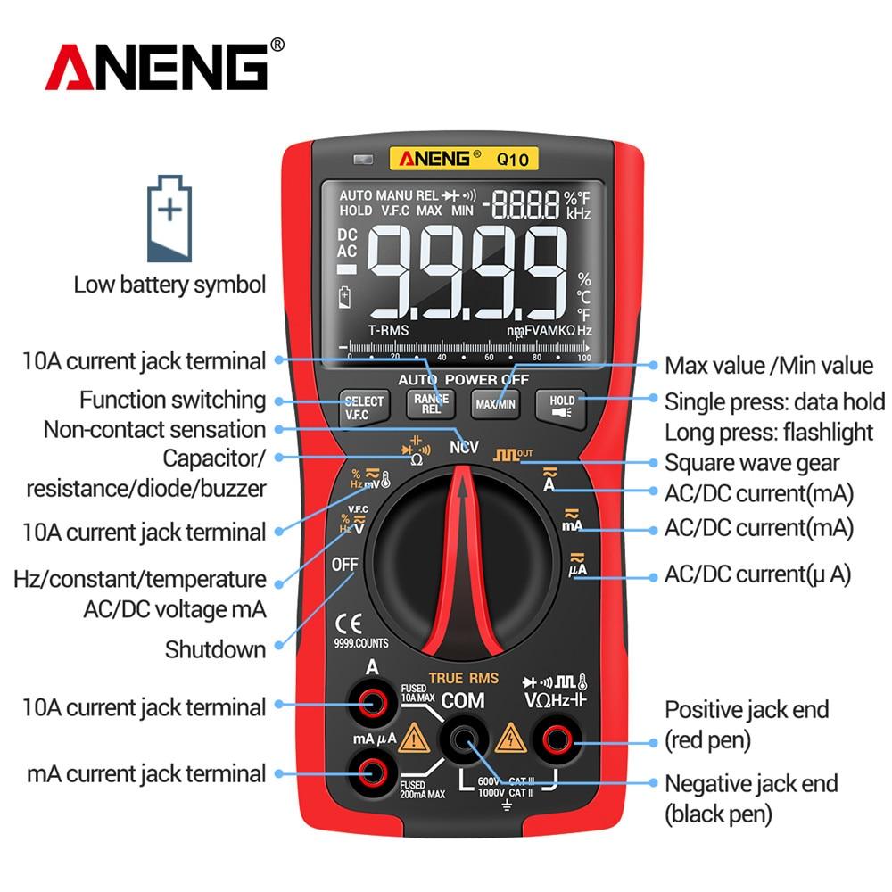 Tools : ANENG Q10 9999 Professional Tester Multimetro Digital Multimeter True RMS Analog DIY Transistor Capacitor NCV Testers Lcr Meter