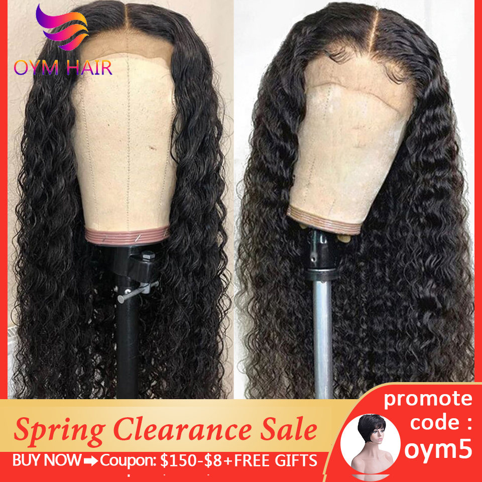 OYM HAIR Deep Wave Wig 13x4 Lace Front Human Hair Wigs For Women Pre Plucked Hairline 10-24 Inches Remy Peruvian 150% Hair Wig
