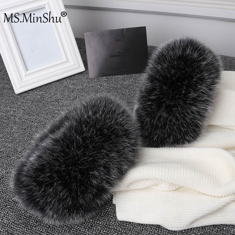 Ms.MinShu Real Fox Fur Cuffs Women 100% Natural Fox Fur Sleeves For Women Coat Warmer Sleeve Jacket Fur Cuffs Fluffy Fur Cuff