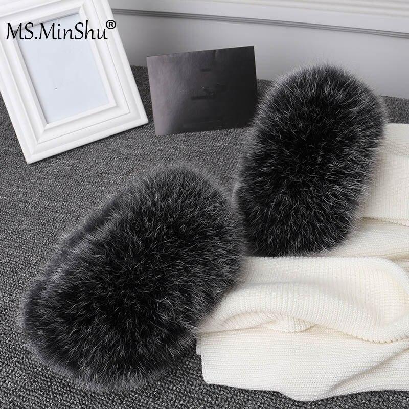 Ms. minshu real raposa pele punhos das mulheres 100% natural de pele de raposa mangas para mulheres casaco mais quente manga jaqueta de pele punhos de pele fofo-in Cachecóis femininos from Acessórios da Moda on AliExpress