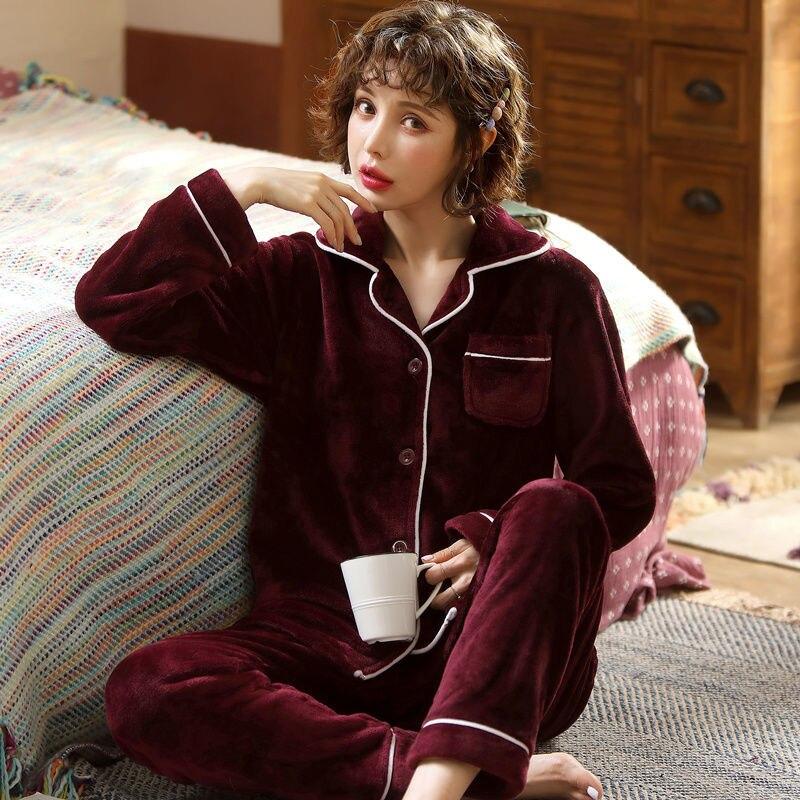 Sleepwear Women Set Coral Fleece Pijamas Women Suit Long Flannel Thick Long Sleeve Winter Pyjama Femme Homewear Pajama For Woman