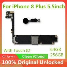 64 기가 바이트 256 기가 바이트 마더 보드 아이폰 8 플러스 5.5 인치 전체 잠금 해제 메인 보드 터치 ID IOS 시스템 전체 로직 보드