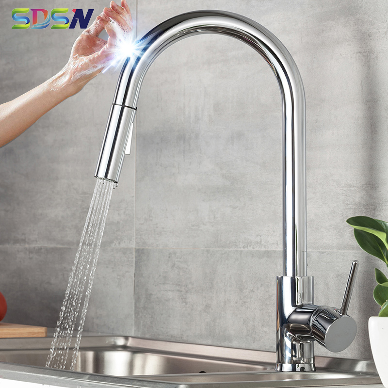 Touch Kitchen Faucets Crane For Chrome Sensor Kitchen Water Tap Pull Out Kitchen Sink Faucet Polished Chrome Touch Kitchen Taps