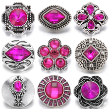6pcs/lot Wholesale Snap Jewelry Mixed Rose Red 18mm Buttons Fit Button Bracelet Charms Women
