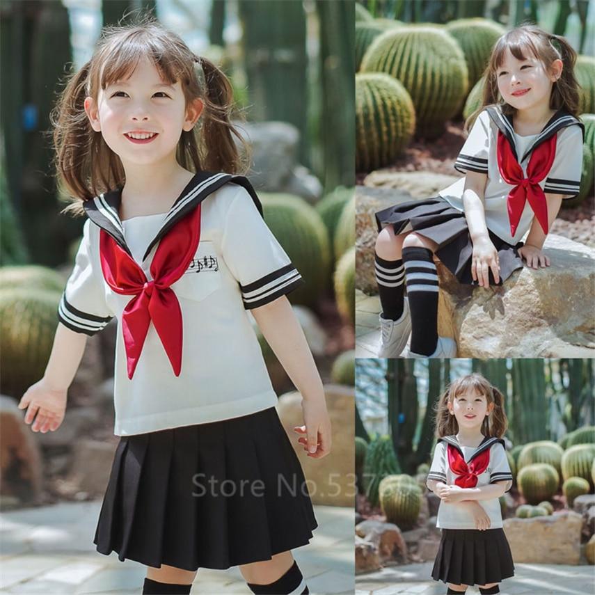 Sailor Uniform Japanese Style Kawaii Girls School Anime Cosplay Korean Women Fashion JK Skirts 100-160CM Navy Halloween Dress