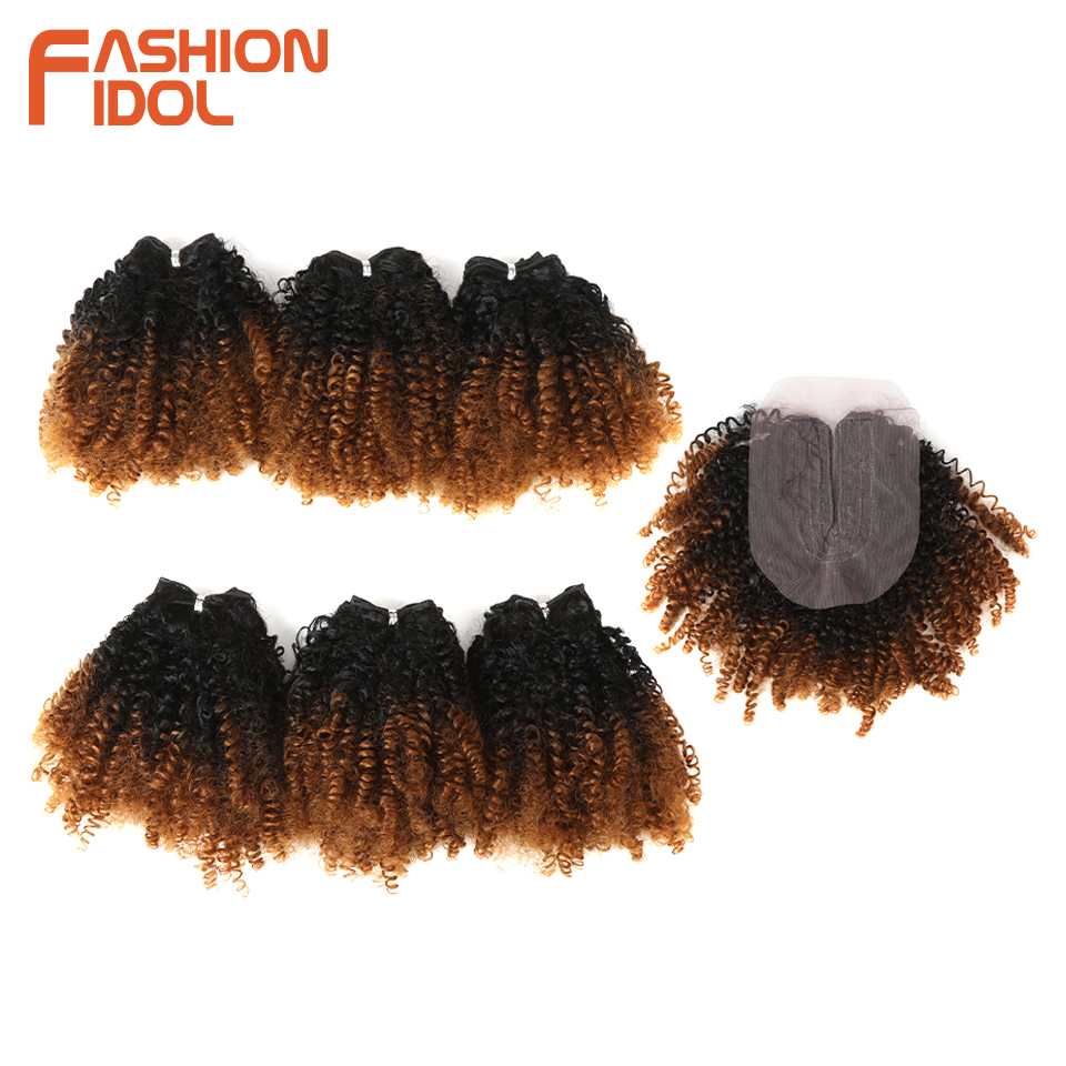 FASHION IDOL Natural Soft Afro Kinky Curly Hair Synthetic 7 Bundles Lace With Closure Ombre Blonde African Weave Hair Bundles