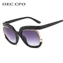 OEC CPO – lunettes de soleil pour femmes, surdimensionnées, demi-monture, marque, carré, grande monture, luxe, noir, UV400 O235