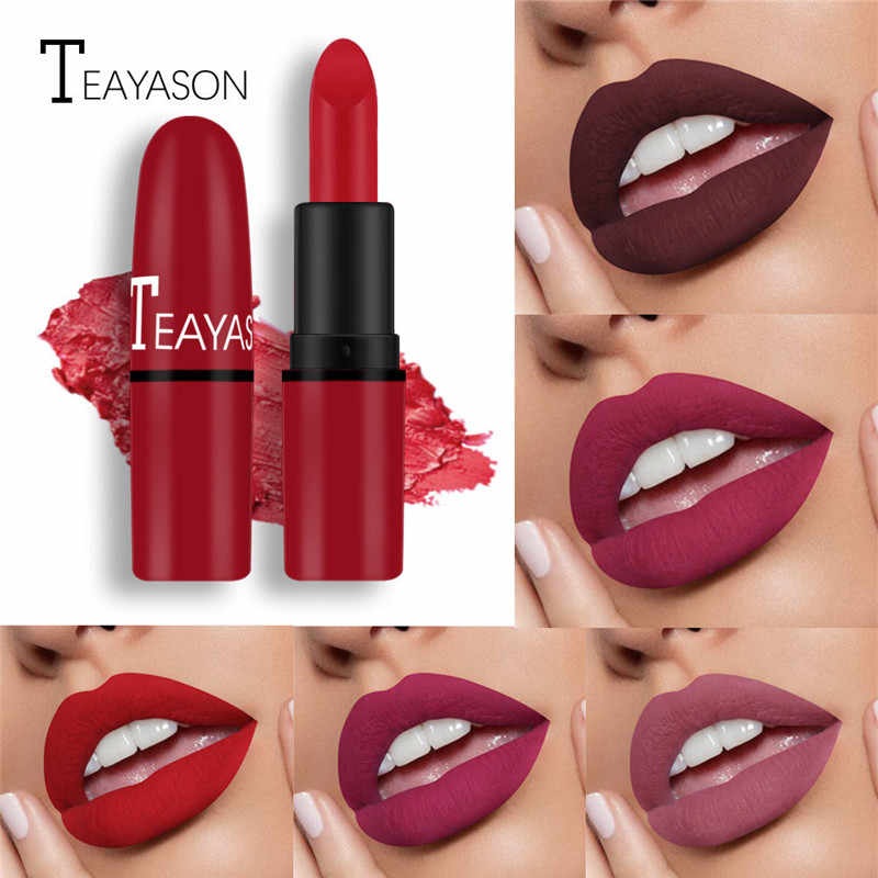 12 Color Matte Lipstick Bean Paste Velvet Color Sexy Red Non-fading Lasting Non-stick Cups Natural Nude Color Lipstick Cosmetics