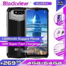 Blackview BV9100 6.3 FHD + 13000mAh IP68 Rugged Smartphone 4GB 64GB Helio P35 Octa Core Android9.0 del Telefono Mobile 30W di Carica Veloce