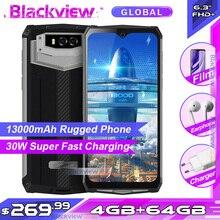 Blackview BV9100 6.3 FHD + 13000mAh IP68 güçlendirilmiş akıllı telefon 4GB 64GB Helio P35 Octa çekirdek Android9.0 cep telefon 30W hızlı şarj