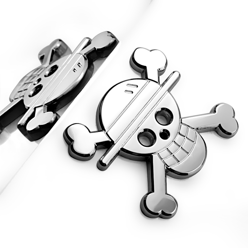 lowest price Noizzy Straw Hat Pirates Logo Metal Anime Badge ONE PIECE Car Sticker 3D Chrome Luffy Skull Boat Auto Emblem Styling Accessories